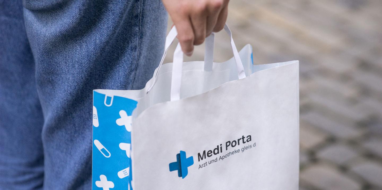 Corporate Identity Medi Porta Tragtasche