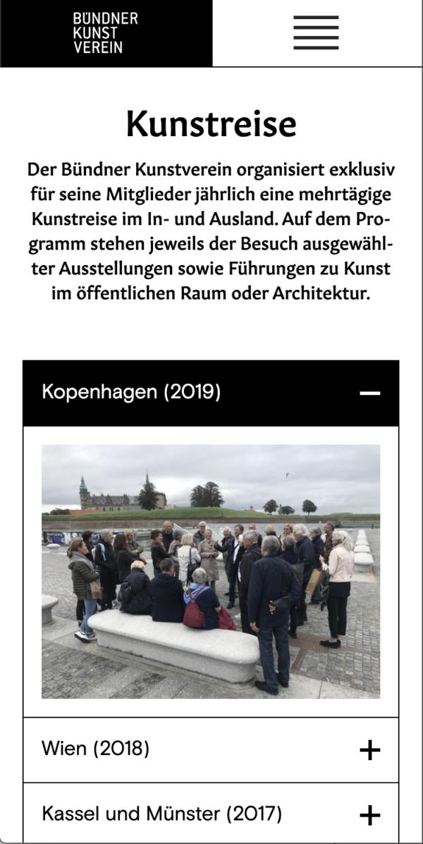 Corporate Design Buendner Kunstverein Website Mobile