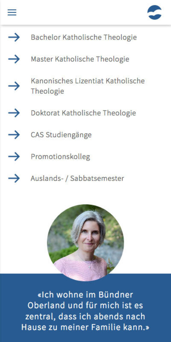 Corporate Design Theologische Hochschule Chur Webseite Mobiel