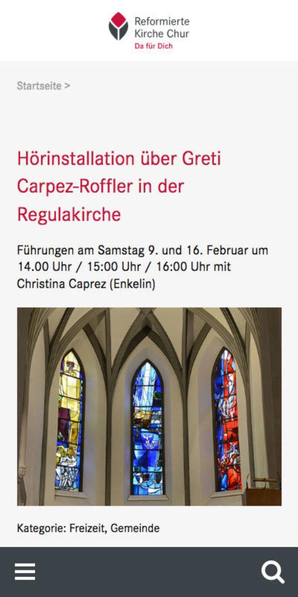 Digital Webdesign Reformierte Kirche Chur Projekt Mobile