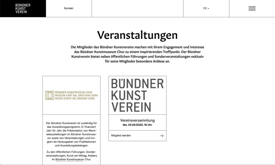 Corporate Design Buendner Kunstverein Website
