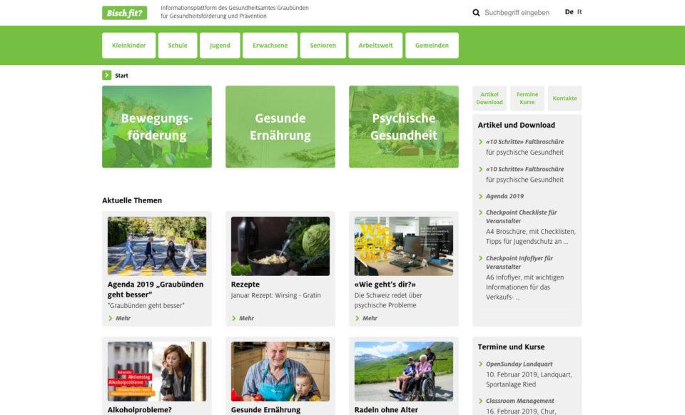 Corporate Identity Bisch fit Webseite Home