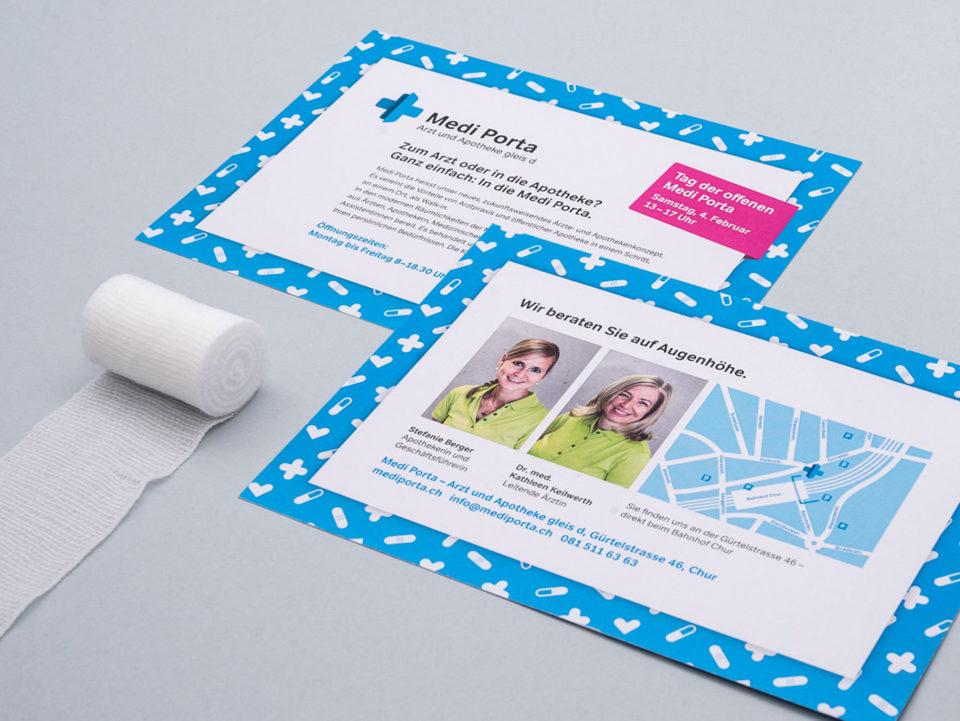 Corporate Identity Medi Porta Notfall Apotheke Info Flyer