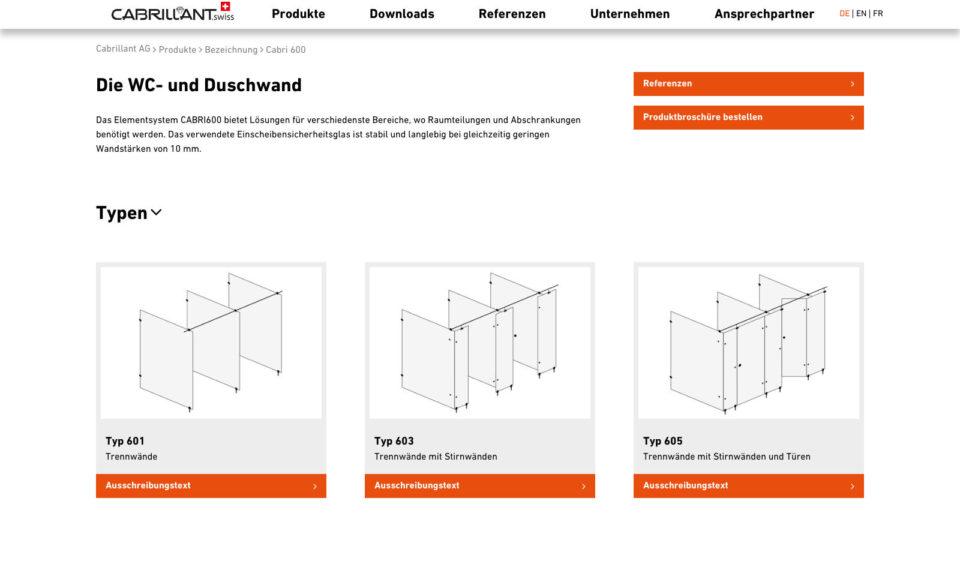 Digital Webdesign Cabrillant Trennwand Website Produktdetails